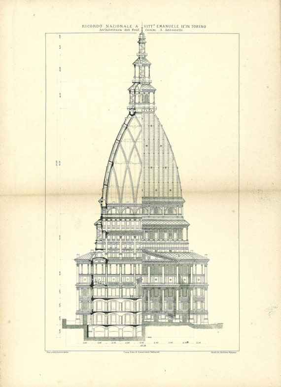1800s architectural drawing torre antonelliana milan turin for Printing architectural drawings