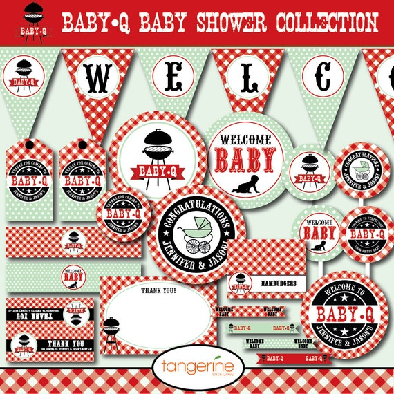 Bbq baby shower decorations package babyq baby shower for Baby shower bbq decoration ideas