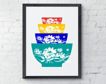Pyrex Bowls Art Print, Kitchen wall decor, Instant Download, printable