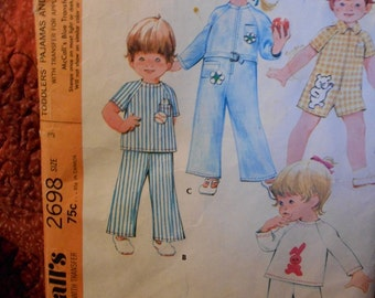 McCalls 2698 Toddlers Pajama and Jumpsuit sewing pattern size 3 Vintage