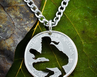 Softball catcher necklace, hand cut coin Jewelry, Choose your special Quarter