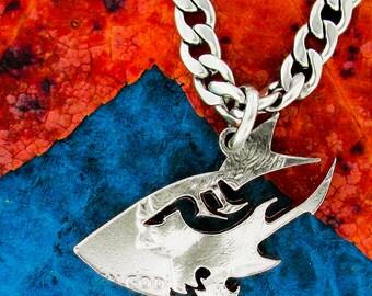 Shark head necklace, ocean jewelry, hand cut half dollar
