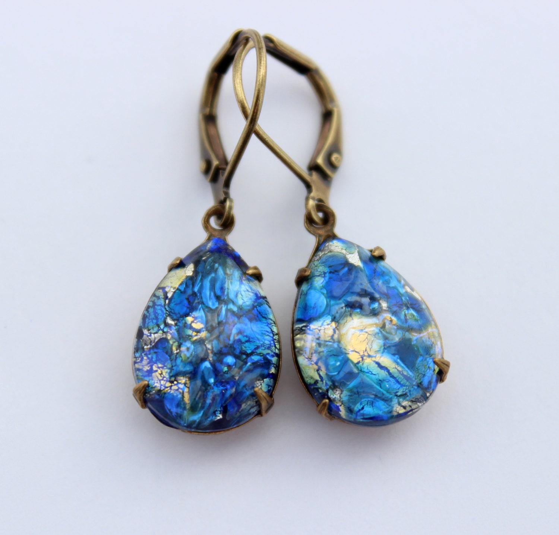blue earrings blue opal earrings teardrop by cobblestoneavenue. Black Bedroom Furniture Sets. Home Design Ideas