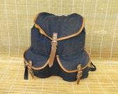 Vintage Medium Size Blue Canvas Brown Bag Drawstring Backpack