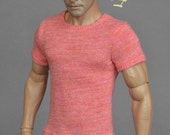 1/6th scale salmon heather color T-shirt for: regular size action figures and male fashion dolls
