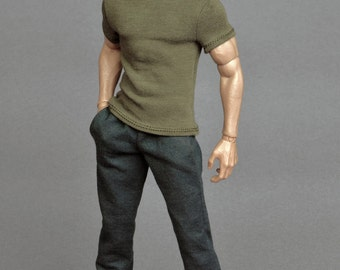 1/6th scale dark grey sweatpants / tracksuit bottoms for male action figures