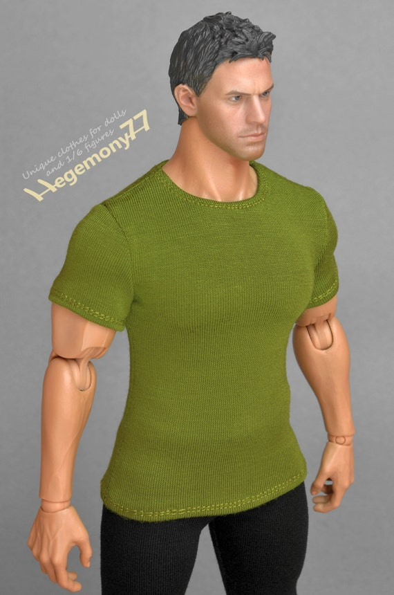 1/6th scale XXL green T-shirt for: Hot Toys TTM 20 size bigger action figures and male fashion dolls