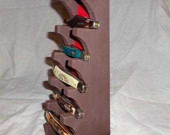 Custom Made Wood Knife Display Stand for Regular Pocket Knives, Wooden Knife Rack