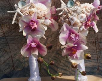 2 Piece Package, Seashell Wedding Bouquet /  Beach Bride, Bridesmaid Bouquet