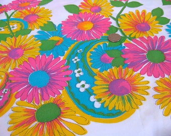 "Vintage Fabric - Mod - Hot Pink & Turquoise Paisley and Daisy - 44""W - fabric by the yard - material - textile - sewing supply - Retro"