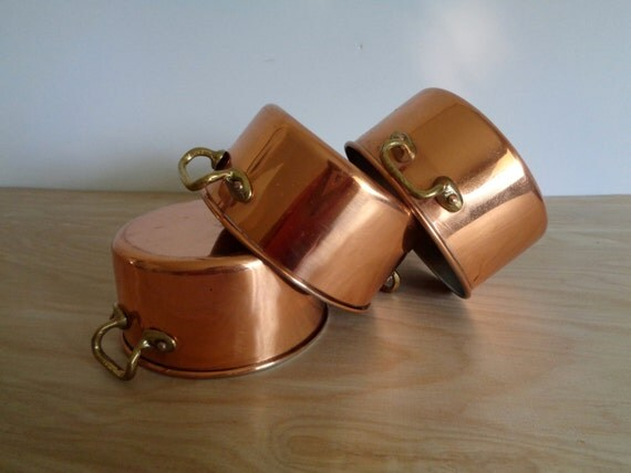 Set Of 3 Mini Copper Pots With Handle Vintage Copral Rustic