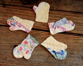 Cutter Quilt Mitten Appliques, Vintage Primitive Quilted Patchwork Winter Scrapbook Craft Embellishments, Mittens itsyourcountry