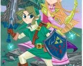 Link and Zelda Giclee' Art Print