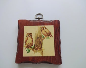 Vintage Wooden Owl Wall Hanging 1970s