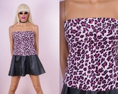 90s Fuzzy Pink Leopard Tube Top