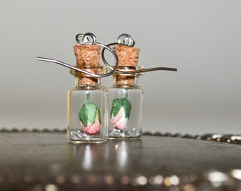 Rosebud Earrings, Tiny Bottle Earrings, Delicate Drop Earrings, Pink Rose Jewelry, Dangle Earrings, Pink Rose Bottle Jewelry, Rose Earrings