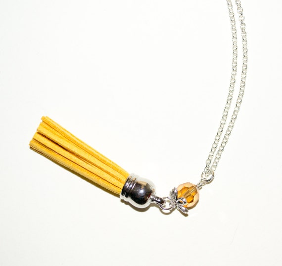 Yellow Tassel Necklace, Boho Jewelry, Layering Necklace, Long Tassel, Mustard Yellow Long Necklace, Long Boho Necklace, Boho Tassel Jewelry