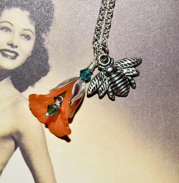 Bee Jewellery, Bee Necklace, Bee Pendant, Orange Flower Necklace, Flower and Bee, Charm Necklace, Silver Bee Charm Jewelry, Ins