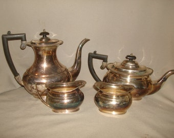 sale - Antique Silverplate Tea SET ~ 4 Piece CHELTENHAM Sheffield ~ Tea Pot, Coffeepot, Sugar Bowl, Creamer