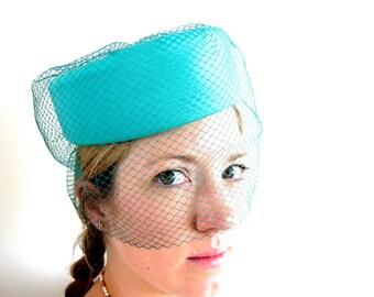 Vintage Wedding Pillbox Hat with Net Veil