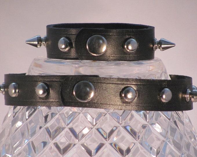 Leather choker and cuff,studded choker, studded leather, studded wrist cuff and choker