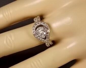 Swirled Diamond Ring White Gold .75Ctw White Gold 14K 4.2gm Size 6.75 Loves Embrace Engagement Wedding