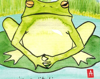191. meditating frog Zen humor card - mix and match any 6 designs