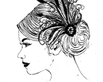 Jane - Feather Fascinator Ink Sketch, Ink Drawing, Pen and Ink, Black and White, Fine Art Print, Giclee, Original Art, Animal, Cat