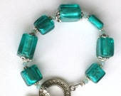 "Handmade 7.5"" DEEP AQUA Foil Lined Art Glass Beads Bracelet Silver Caps and Accents TOGGLE  Clasp"
