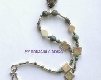 "Handmade 22"" Drab OLIVE JASPER  & Silver PENDANT Necklace Greek Silver Ceramic Bead Accents and Designer Hook Closure"
