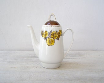 Sunflower Porcelain Teapot, Vintage White Floral Tall Tea Pitcher, Mid Century Home Cafe Appliances Tableware, Collectible Restaurant Decor