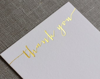 Gold Foil Thank You Cards, Letterpress Calligraphy Thank You Cards, Wedding Thank You Cards