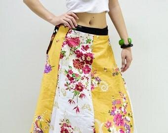 Skirt SJB103 Patchwork Cotton Woman Wrap Sarong Casual Long Gypsy Summer Boho