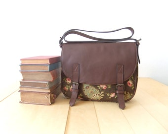 SALE  Leather & Canvas Messenger Bag  dark brown leather paisley floral shoulder bag  Mother's Day Gifts handbag classic