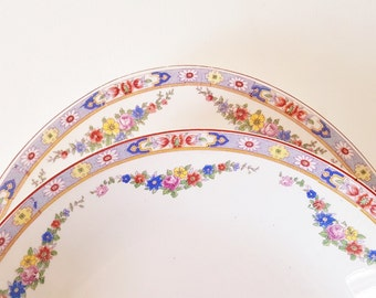 Vintage NOS Thompson 5 Bowls Large Oval Platter Blue Yellow Floral Rims Blue Yellow Pink Roses Pattern Soup Bowls Large Plate