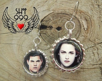 TWILIGHT'S team Jacob bottle cap earrings featuring our wanna-be, should-have-been Bella Swan & Jacob Black