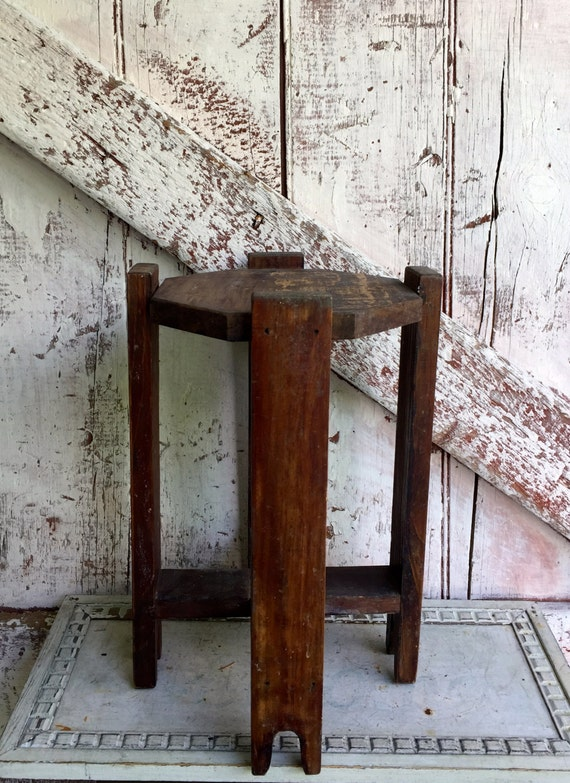 Primitive wooden plant stand small antique rustic wood side