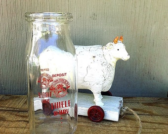Small Glass Milk Bottle | Vintage Half- Pint Milk Bottle | Old Milk Bottle | Thiele Dairy Bottle | Red Label | Vintage Rustic Wedding Vase