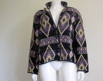 Tapesty Jacket / 90s / Festival Clothing / Aztec / Tribal / Hippie Chic