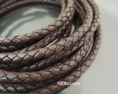 Leather Cord 6mm - Brown Round Braided Bolo Genuine Leather Cord ( Hole Inside )