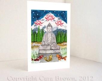 Buddha Greeting Card Asian inspired watercolor art print blank inside