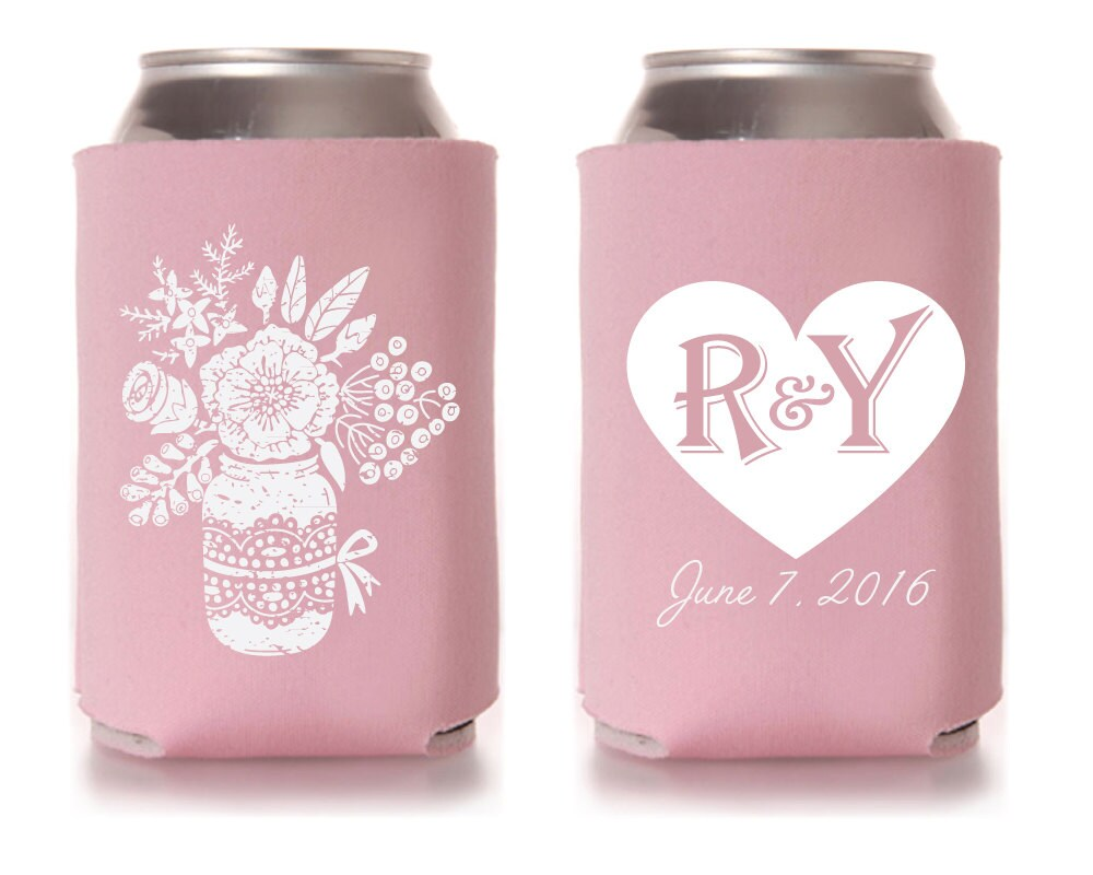 Personalized Can Coolers ~ Wedding can coolers personalized cooler floral