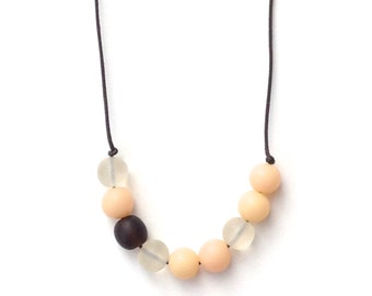 Nursing Necklace - Babywearing Necklace - Boules - Colour Splash - Cream/Ivory and Chocolate Brown