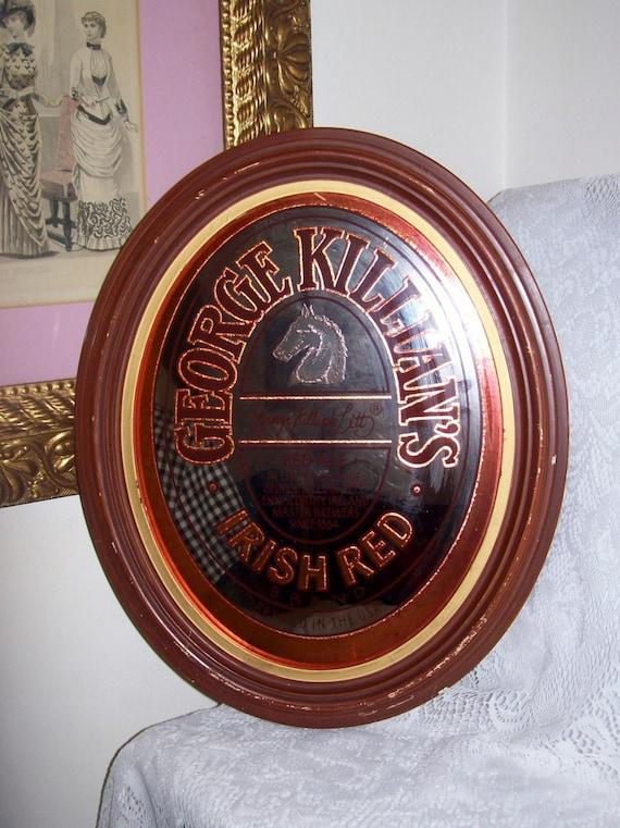 Vintage George Killian S Irish Red Beer Oval Mirror Bar