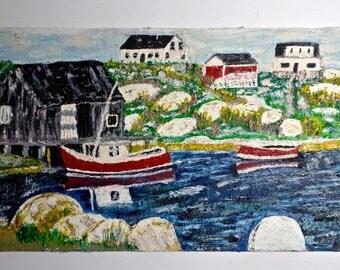 Naive Folk painting of a New England Harbor, Cape Cod Painting, Harbor painting