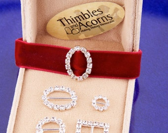 Rhinestone Slider Buckles - Six per Package - Now in FOUR styles!  Oval, Square, Large Round, and Small Round