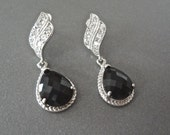 Black and silver earrings  - Teardrops - Bridal Jewelry - Beautiful wave ear posts - Formal Jewelry -  Bridesmaids - Black tie - Gift
