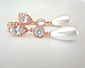 Pearl drop earrings, Rose Gold pearl earrings, Sterling silver posts, Elegant, Bridal Jewelry, Brides pearl earrings, High quality,Classic ~