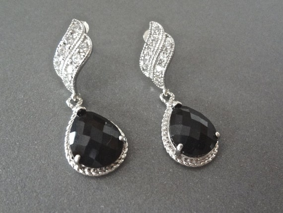 Black and silver earrings  - Teardrops - Bridal Jewelry - Beautiful wave ear posts - Formal Jewelry -  Bridesmaids - Black tie - Gift
