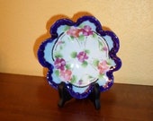 Antique/HAND PAINTED JAPAN/Blue Fluted/Bowl/Floral/Cobalt Blue/Candy Dish/Trinket